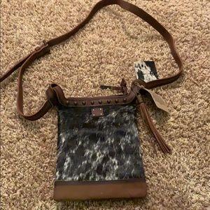 Cowhide cross body purse